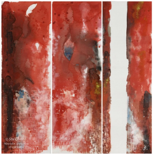 A Manipulation in Red, 2011. A multi-tych painting 48'x48' divided into 3 panels vertically. The color red dominates the painting, except for blotches of black, white and blue, a splatter of yellow and a large, vertical, solid white stripe on the left side of the rightmost panel.