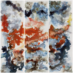 """Fusione, 2011, a 36""""x36""""multi-trych painting divided vertically into 3 panels. The shapes of this artwork look similar to tumultuous clouds. There are grey and deep blue colors surrounding a red center on a white background."""